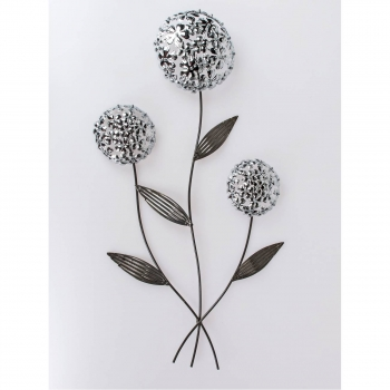 Wanddeko PUSTEBLUME Mit 3 Blüten H. 74cm B. 34cm Silber Anthrazit Metall  Formano