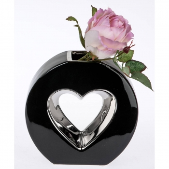 deko vase hearts herz oval h 15cm schwarz silber keramik formano. Black Bedroom Furniture Sets. Home Design Ideas