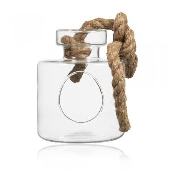 h ngevase bottle flasche mit ffnung und kordel h 20cm d 15cm glas sandra rich. Black Bedroom Furniture Sets. Home Design Ideas