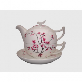 tea for one teekannenset cherry blossom porzellan f r 500ml wei rosa tealogic. Black Bedroom Furniture Sets. Home Design Ideas