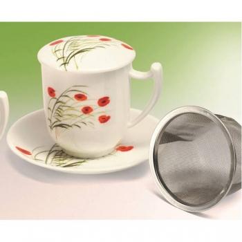 Teetasse Mit Sieb teetasse mit sieb caprice mohn für 0 38l weiß rot porzellan tealogic