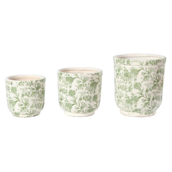 blumentopf fiori weiss gr n keramik 12 5x11 5cm bettin. Black Bedroom Furniture Sets. Home Design Ideas