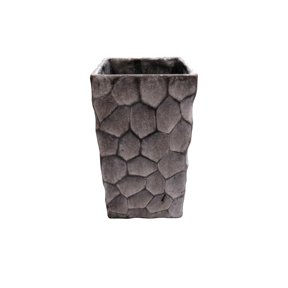 Bertopf vase blumentopf cirkels grau h 26 cm 11 cm for Blumentopf grau