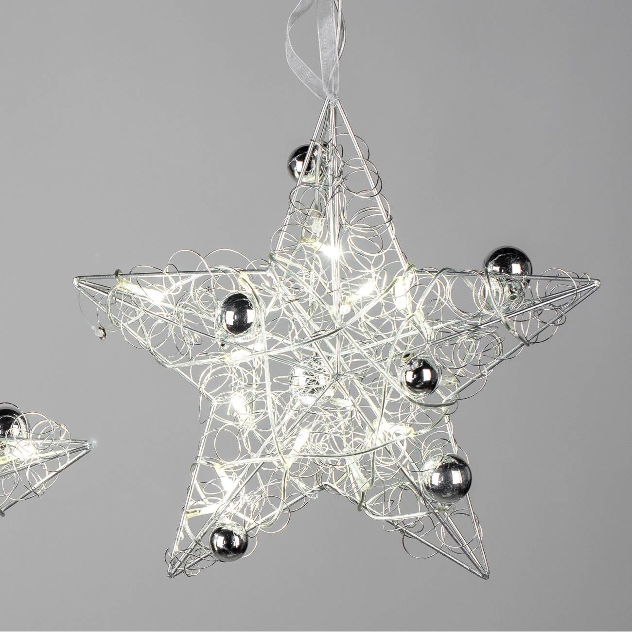 led deko h nger star drahtstern d 30cm metall silber formano w17 ebay. Black Bedroom Furniture Sets. Home Design Ideas