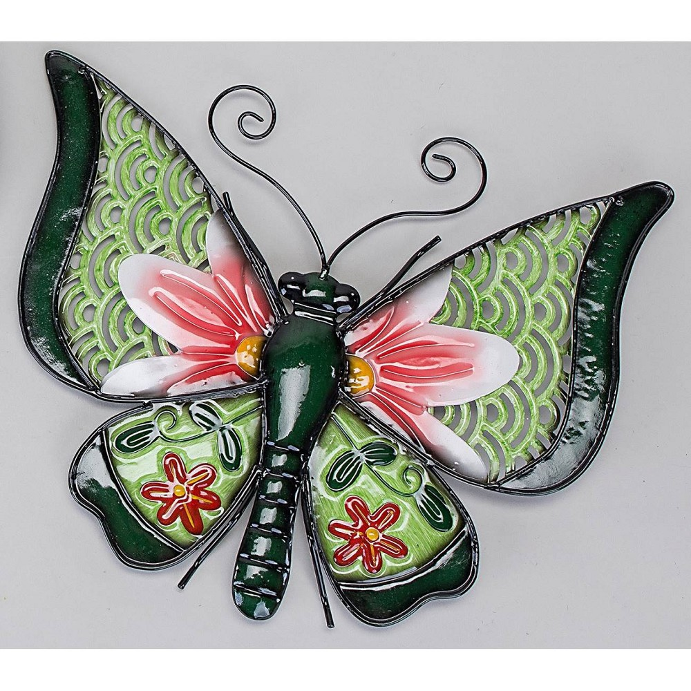 Wanddeko wandbild schmetterling happy metall 36cm gr n for Wanddeko schmetterling