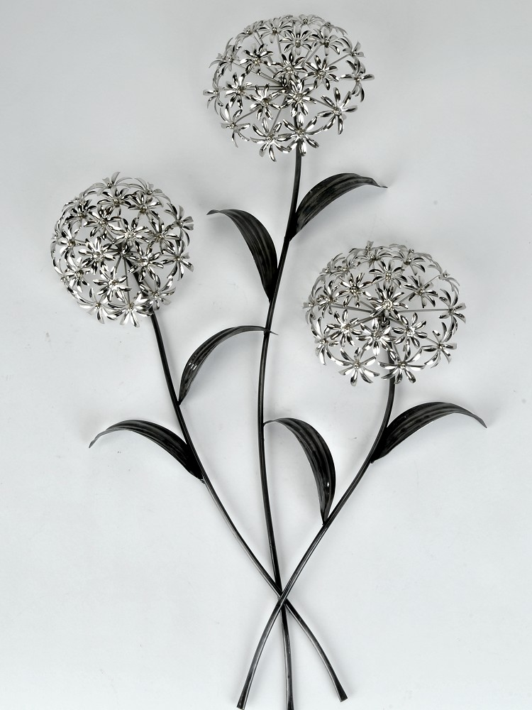 wanddeko wandbild pusteblume blumenzweig metall silber 74 cm formano ebay. Black Bedroom Furniture Sets. Home Design Ideas