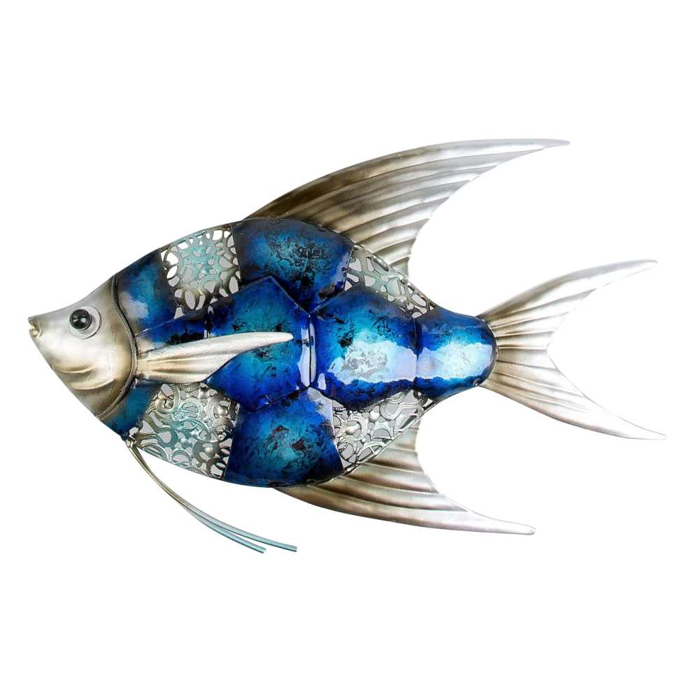 maritime wanddeko wandbild fish fisch l 30cm metall blau. Black Bedroom Furniture Sets. Home Design Ideas