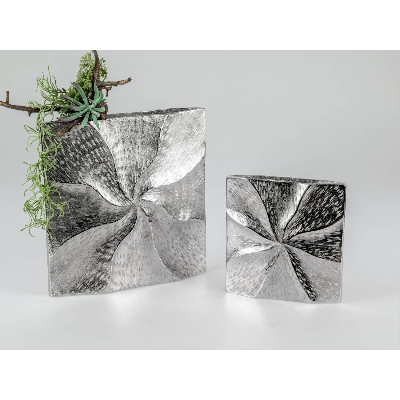 31cm silber Metall Formano Aluminium Vase ALU SPIRALE eckig H