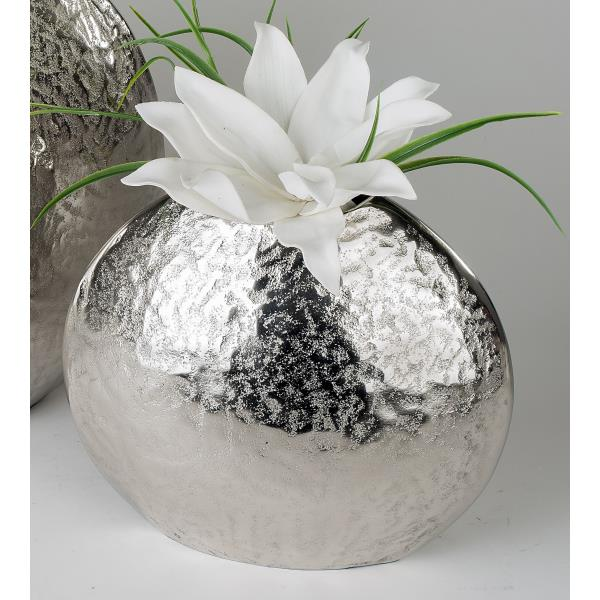 deko vase blumenvase alu organic h 26cm oval rund silber metall formano ebay. Black Bedroom Furniture Sets. Home Design Ideas
