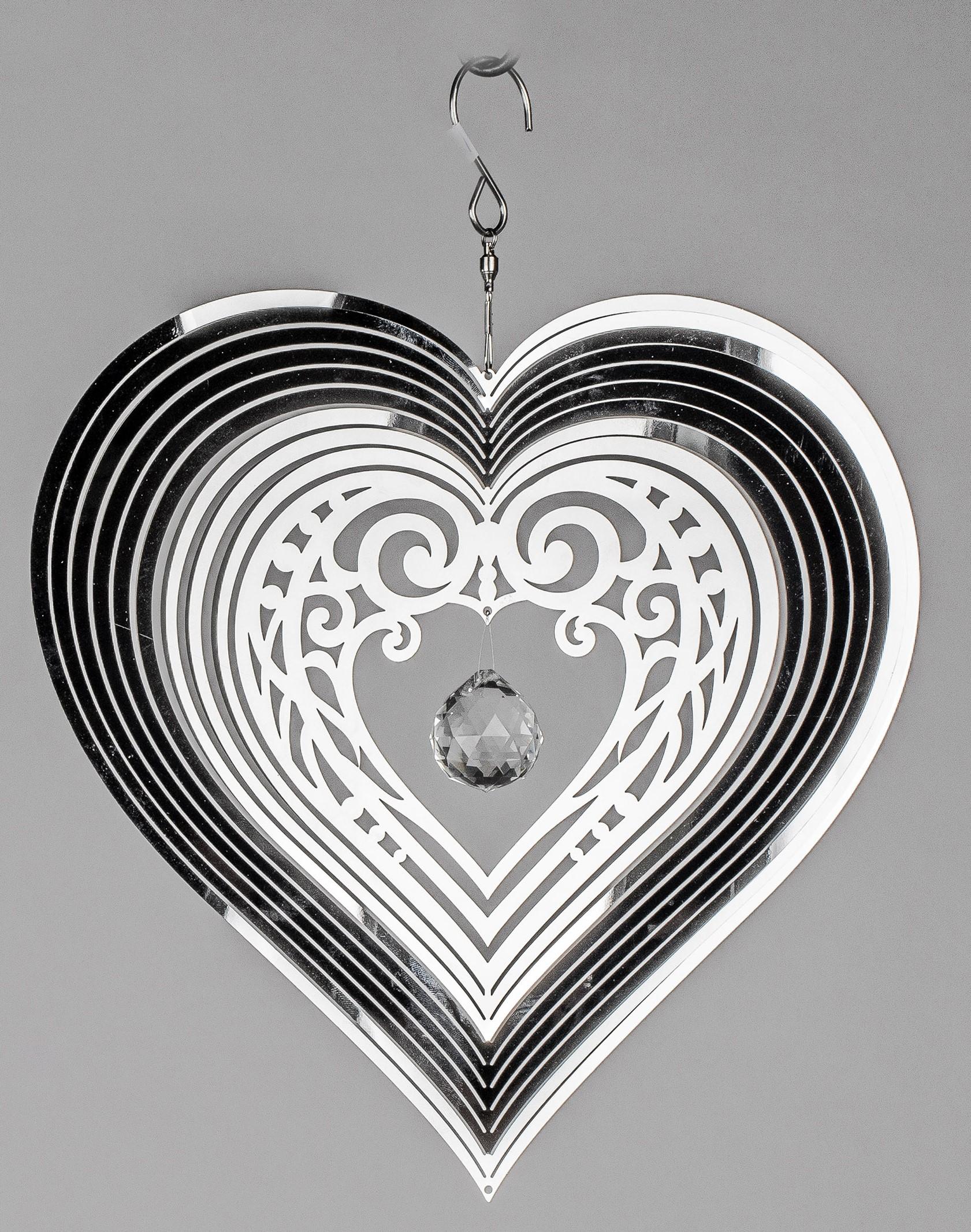 Deko Hänger Herz LANDHAUS D 16cm weiß grau Metall Formano WA