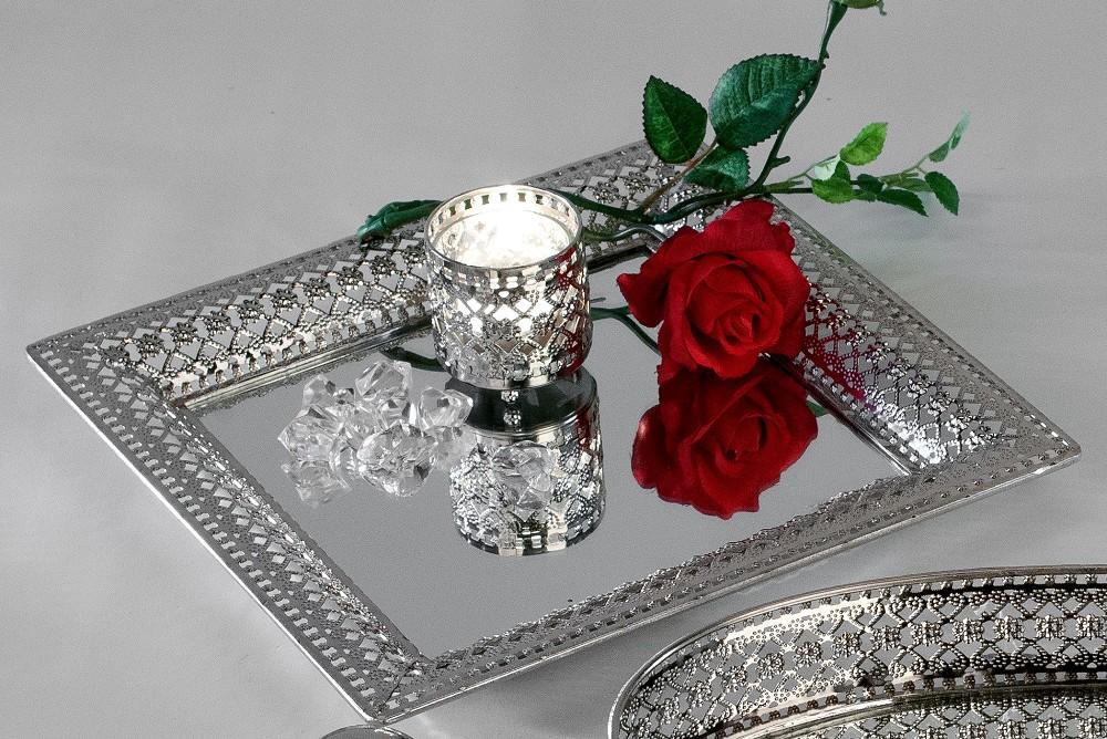 deko spiegeltablett romantik silber quatratisch 30x30cm. Black Bedroom Furniture Sets. Home Design Ideas