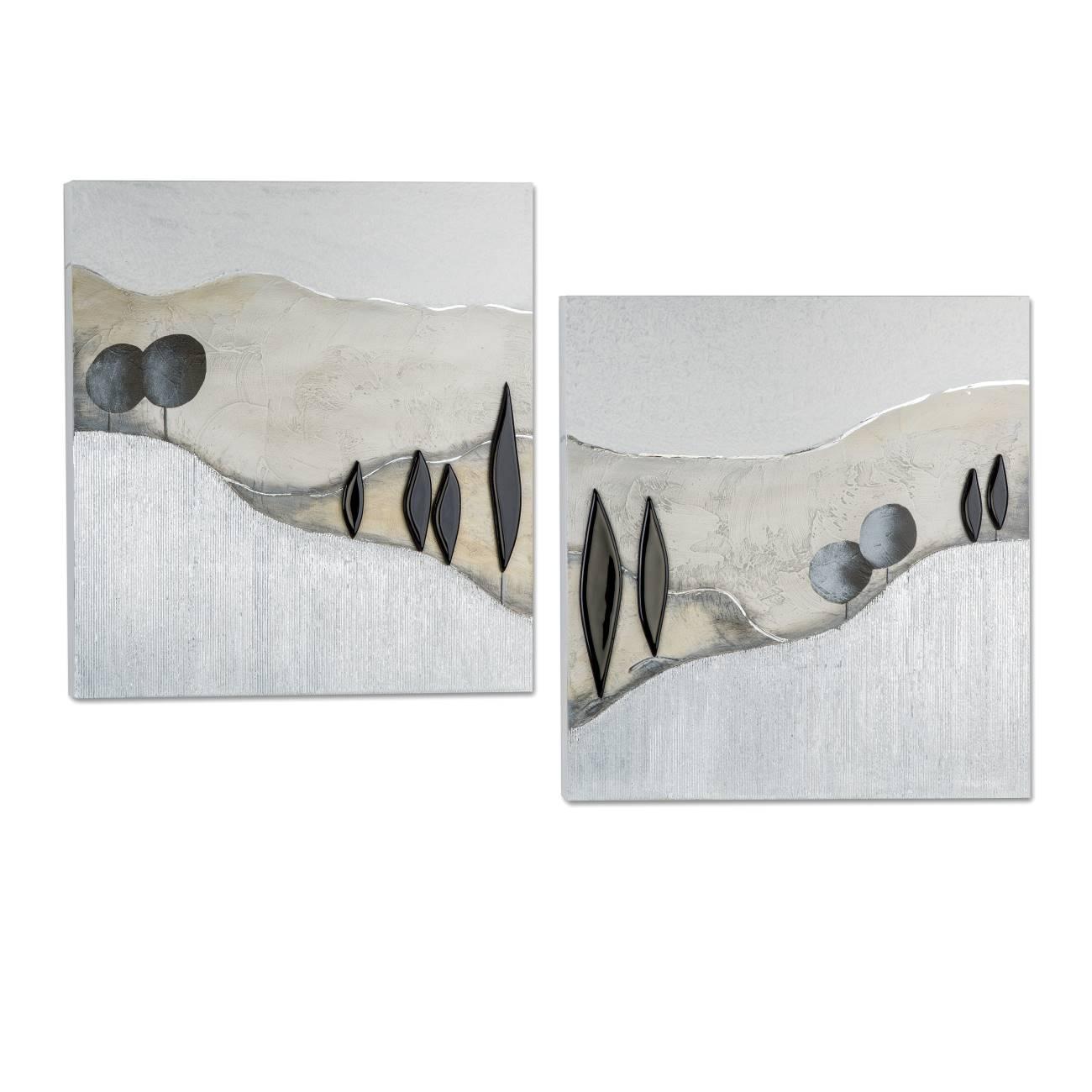 2er set wandbilder wanddeko landschaft je 60x60cm schwarz grau silber formano ebay. Black Bedroom Furniture Sets. Home Design Ideas