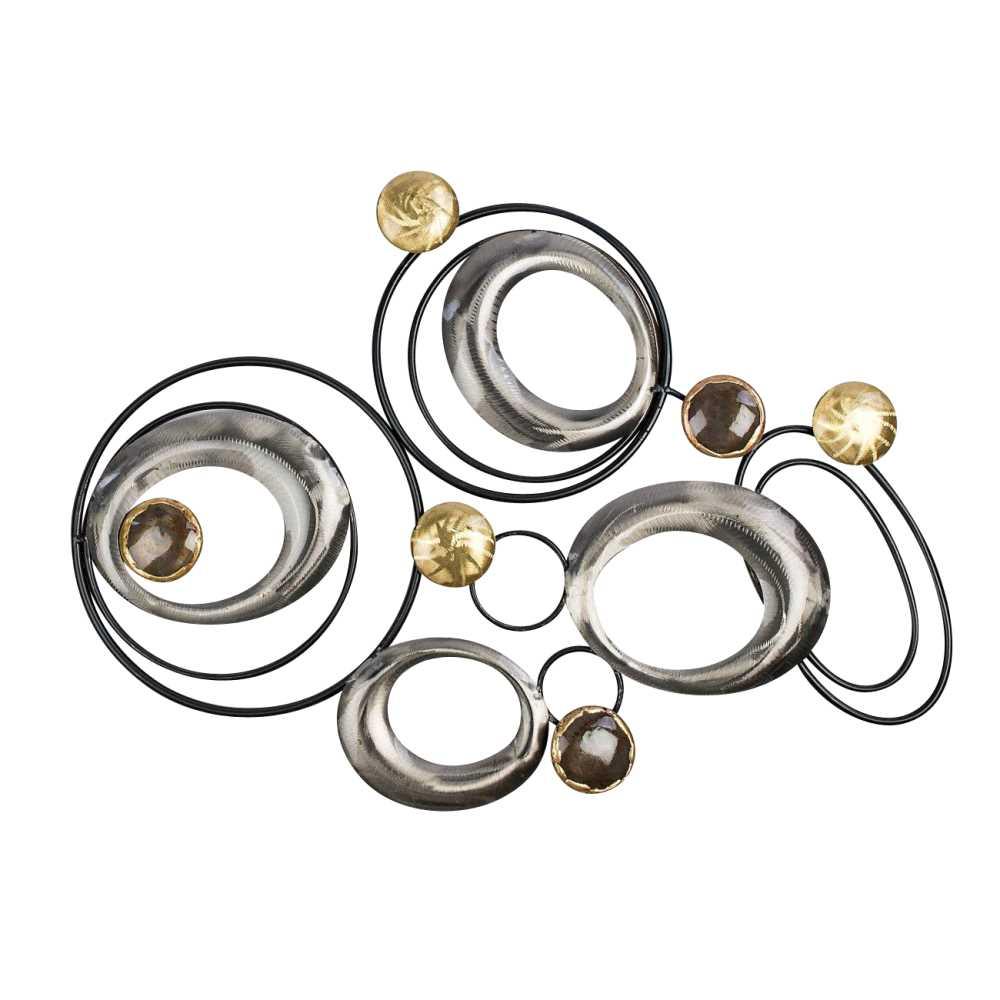 wandbild wanddeko design art kreise l 58cm metall schwarz silber gold formano ebay. Black Bedroom Furniture Sets. Home Design Ideas