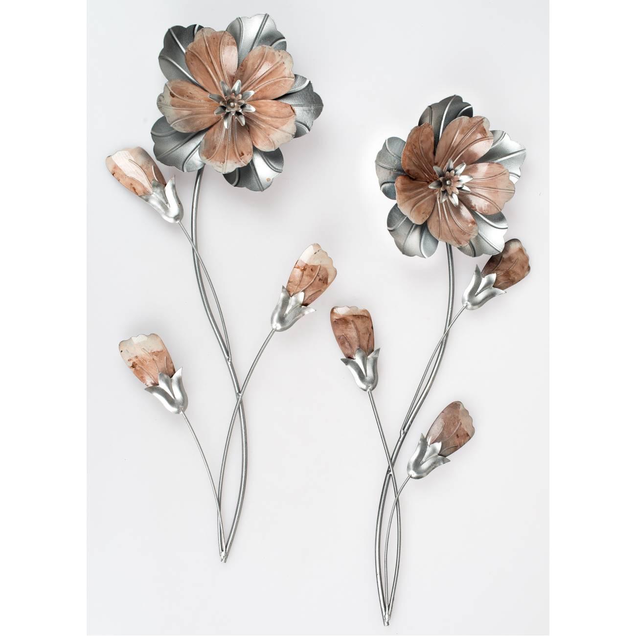 2er set wanddeko wandbild blumen h 58cm rosa silber metall formano 4025809672728 ebay. Black Bedroom Furniture Sets. Home Design Ideas