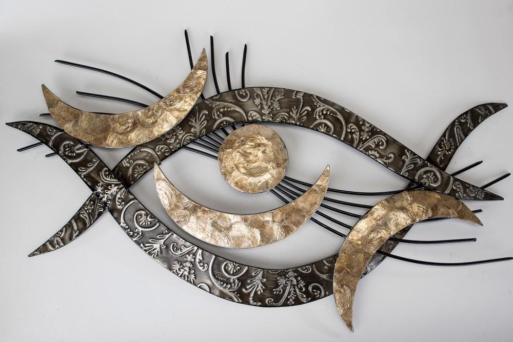 Metallbild wanddeko wandbild auge metall 94x48 cm - Goldene wanddeko ...