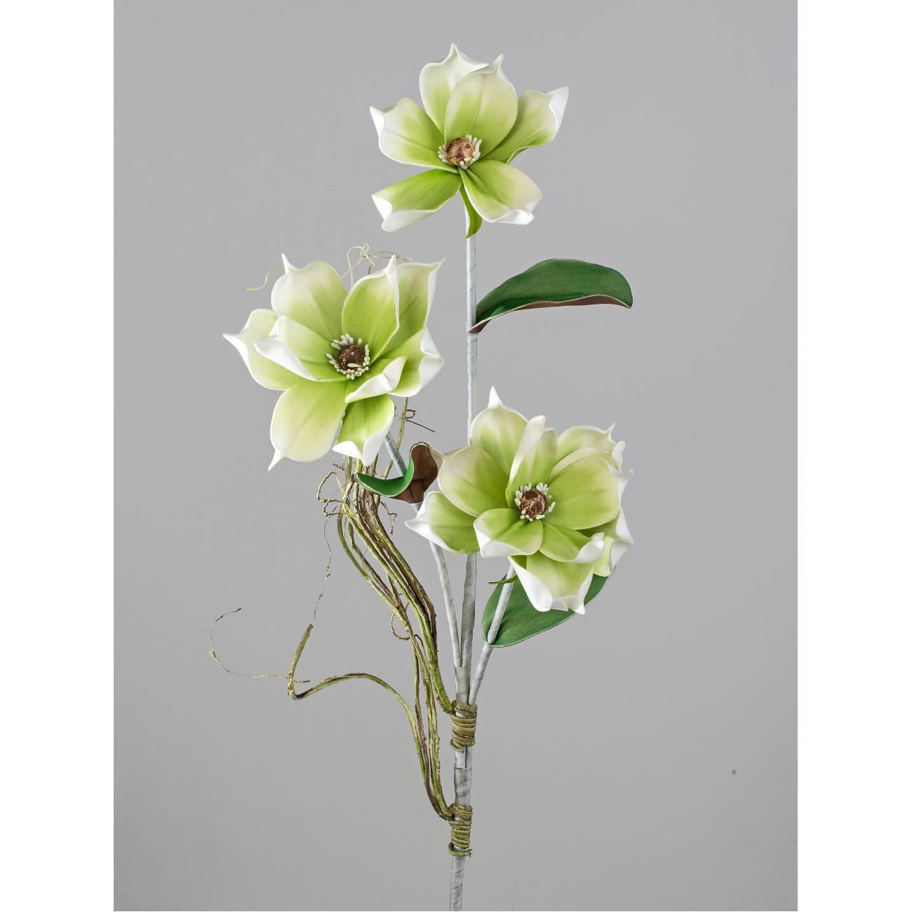 künstlicher Deko Magnolienzweig grün weiß Formano