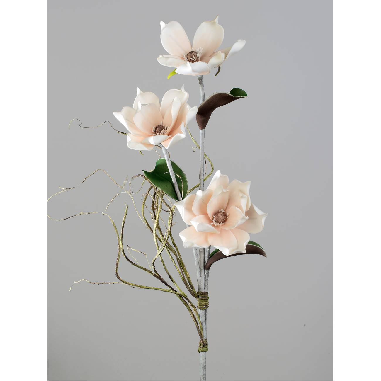 künstlicher Deko Magnolienzweig H. 110cm lachs weiß ...