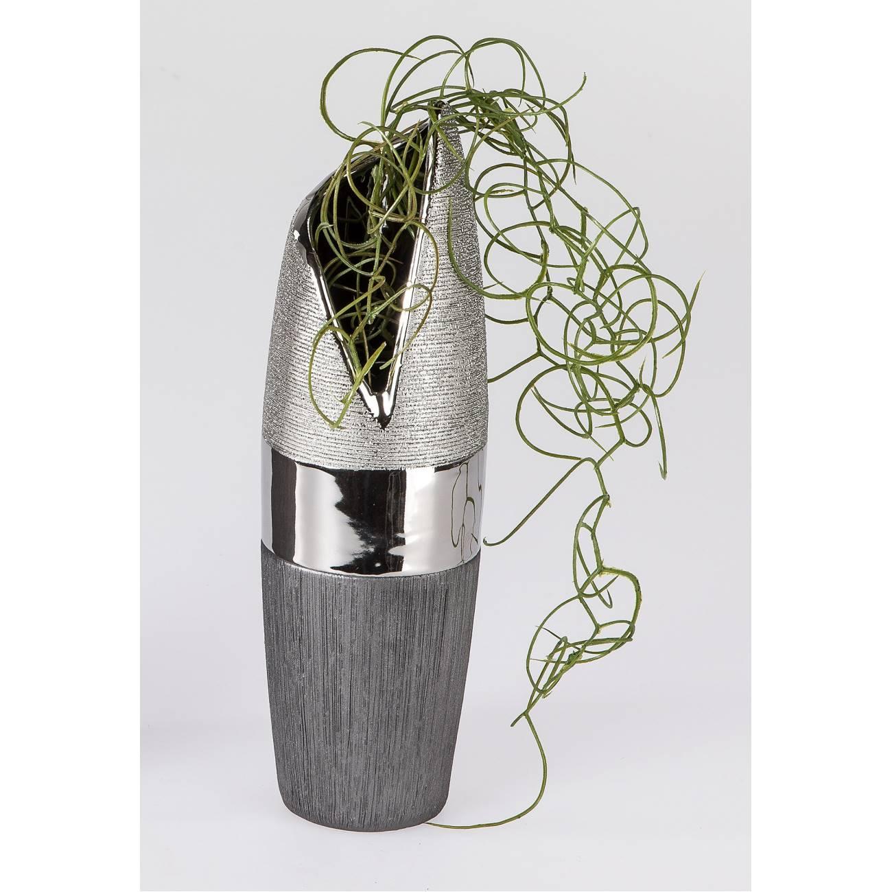deko vase luxor h 30cm d 10cm silber grau keramik formano ebay. Black Bedroom Furniture Sets. Home Design Ideas
