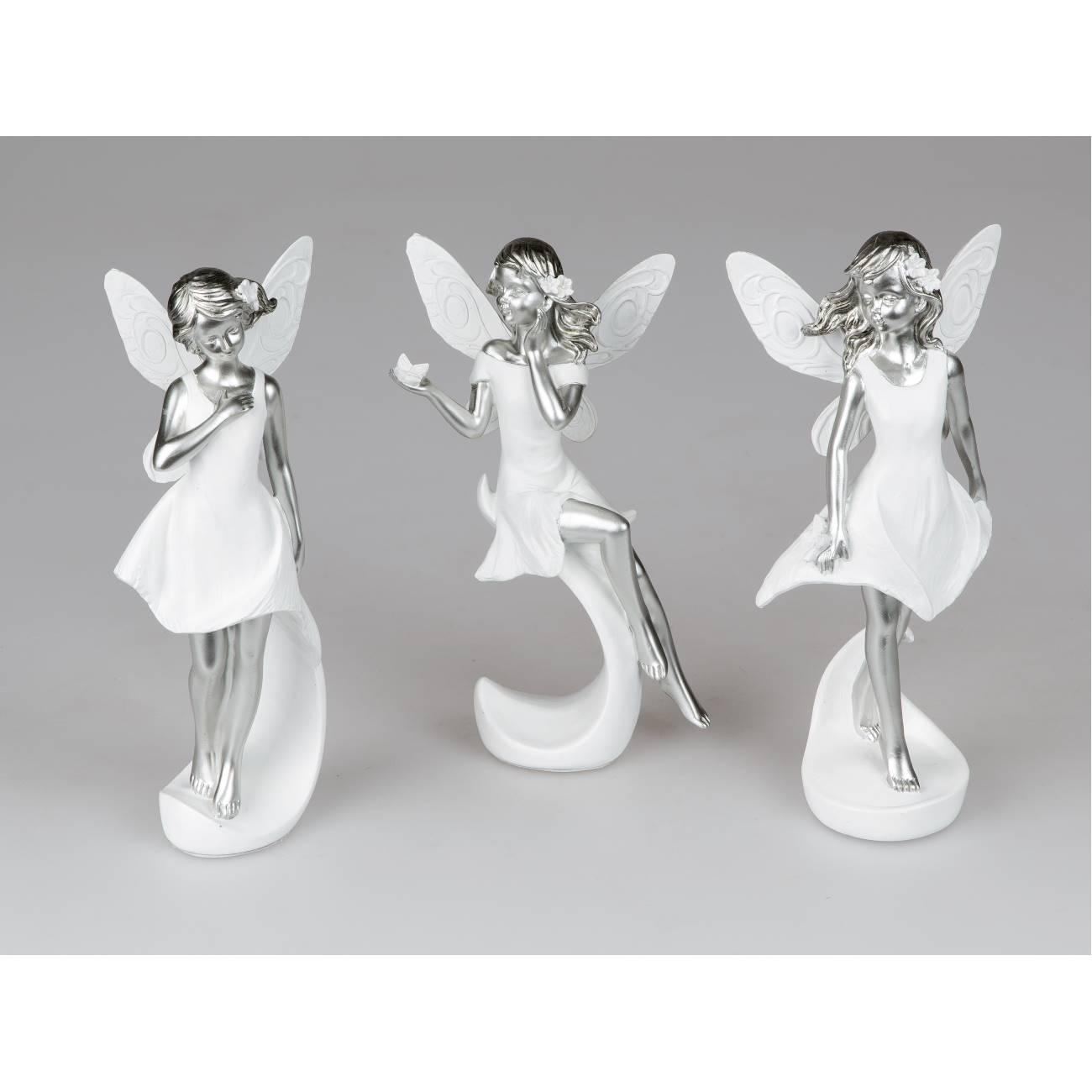 3er Set Dekofiguren Feen Elfen H 22cm Weiß Silber Keramik Formano