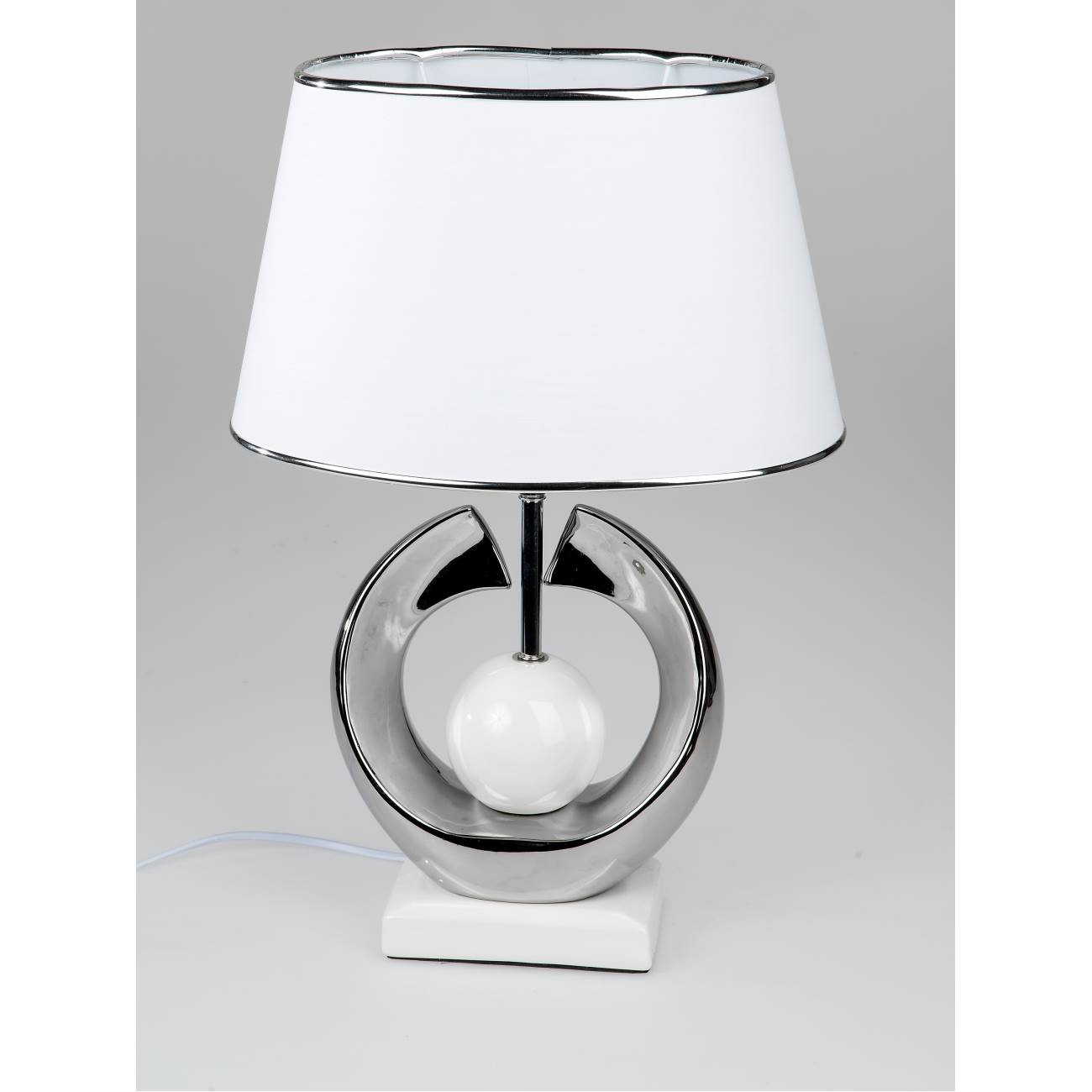 tischlampe leuchte kugel h 52cm wei mit silber keramik. Black Bedroom Furniture Sets. Home Design Ideas