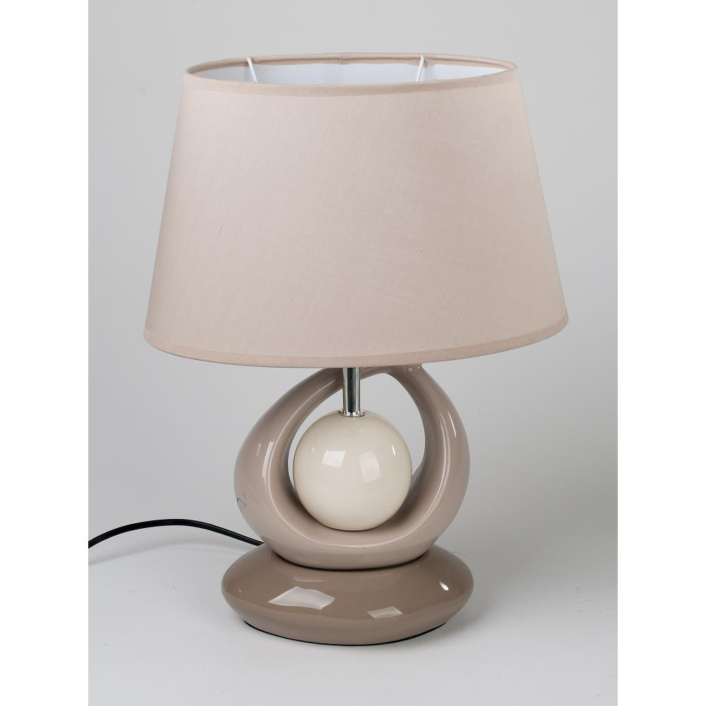 nachttischlampe leuchte kugel creme beige braun taupe keramik 42cm formano ebay. Black Bedroom Furniture Sets. Home Design Ideas