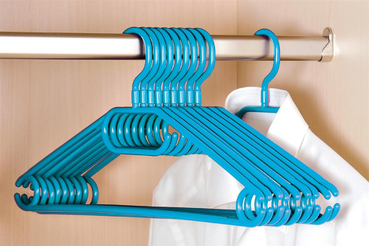 10er pack kleiderb gel aus kunststoff blau petrol breite 40cm kesper. Black Bedroom Furniture Sets. Home Design Ideas