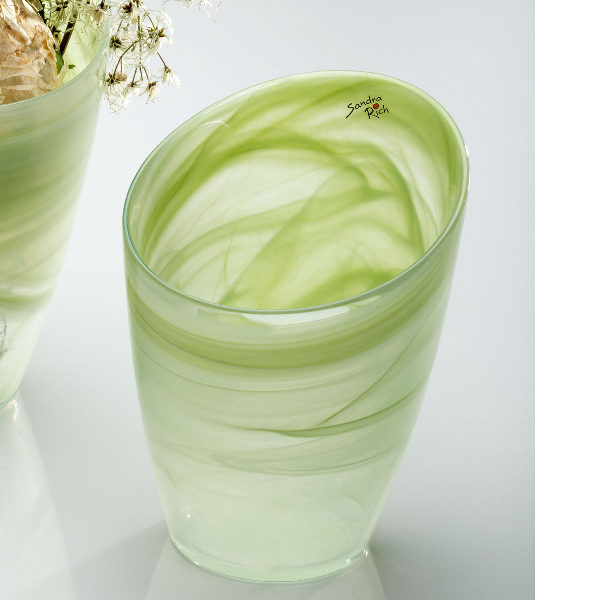 Vase glasvase blumentopf alabaster glas gr n 18x15cm for Blumentopf glas