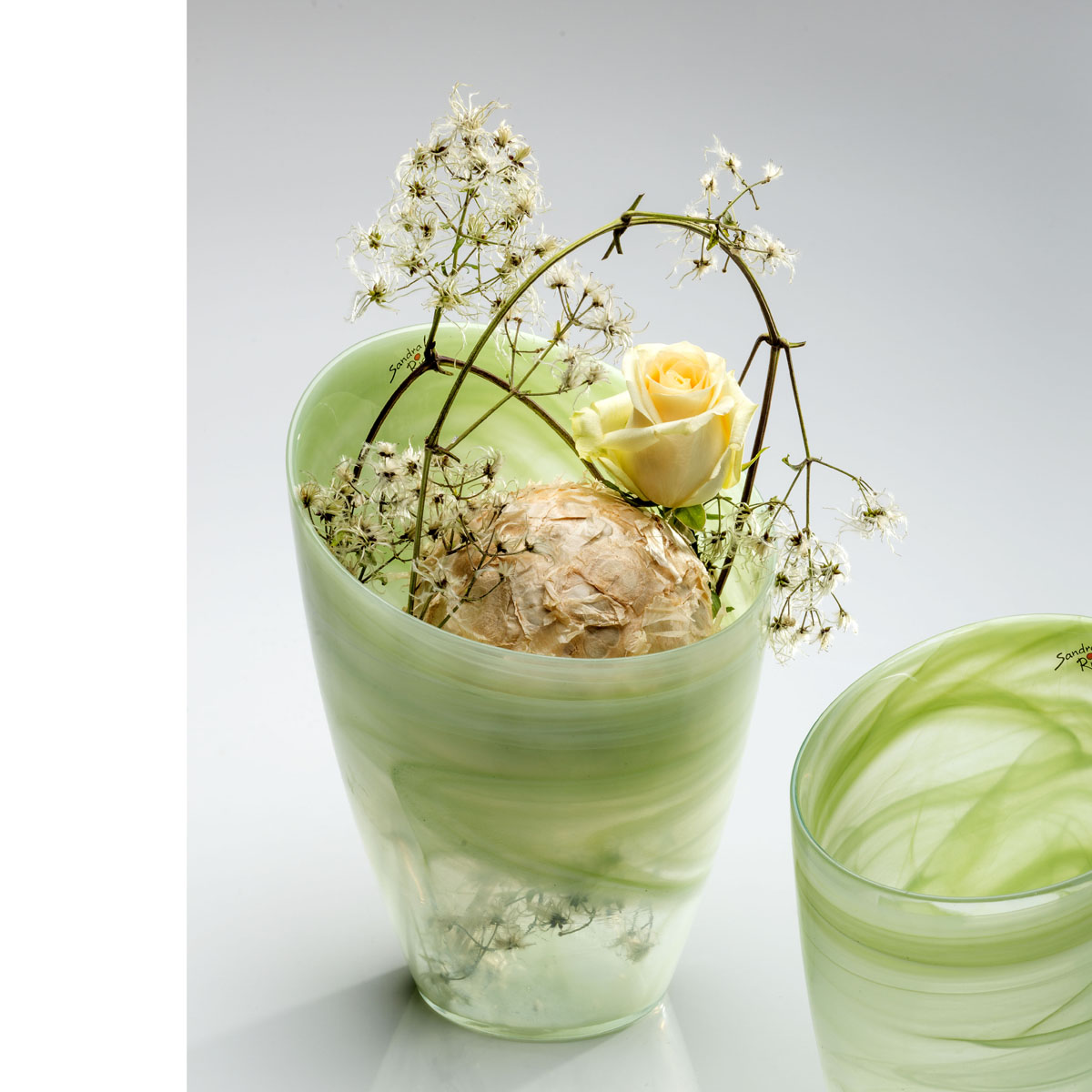 Vase glasvase blumentopf alabaster glas gr n 26x20 cm for Blumentopf glas