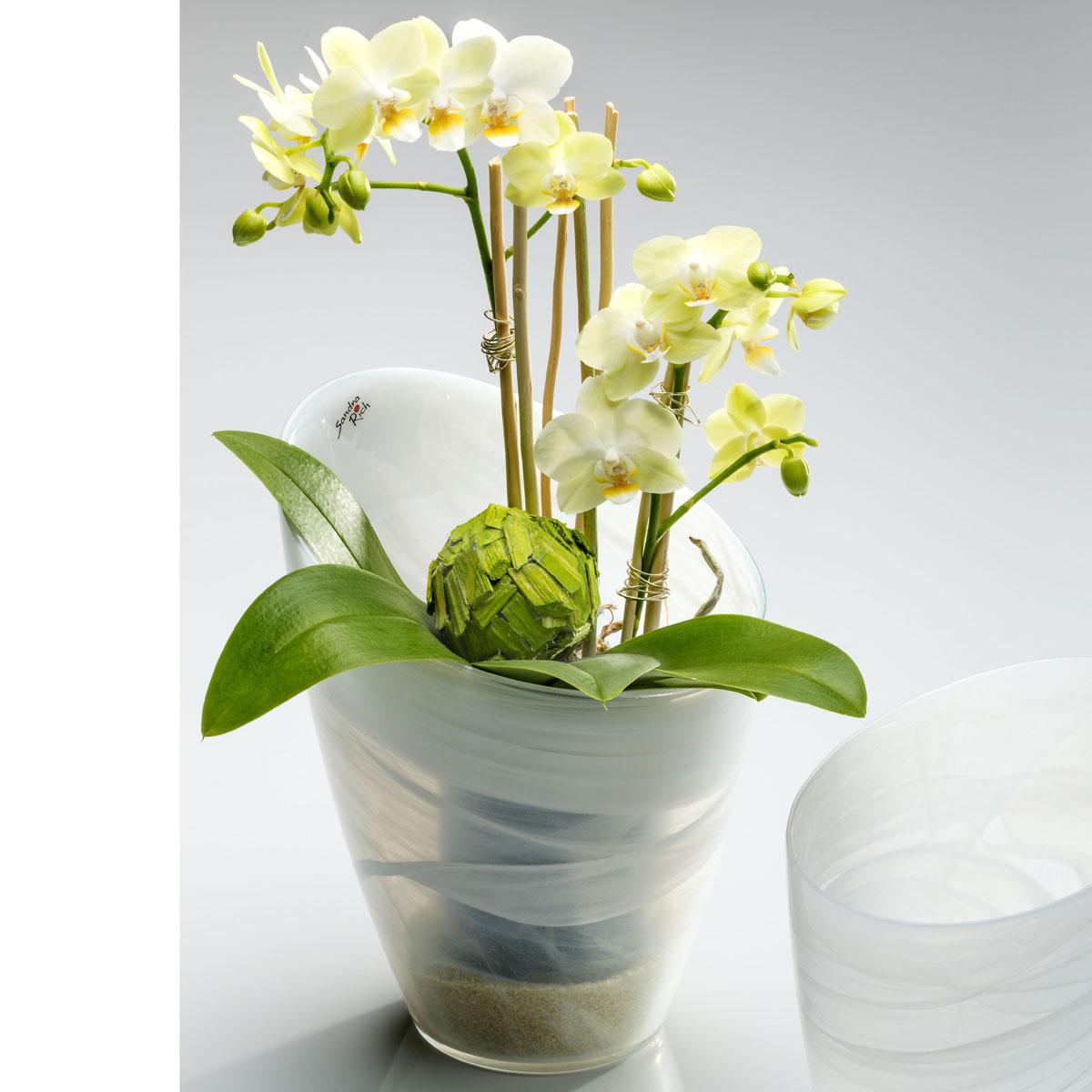 Deko Glasvase Blumentopf Alabaster Glas Weiss 25cm O 20cm Rund