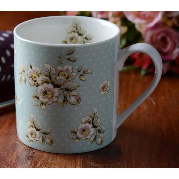 Becher, Tasse Blumen und Punkte blau gemustert, Porzellan, Ø 8cm, Creative Tops