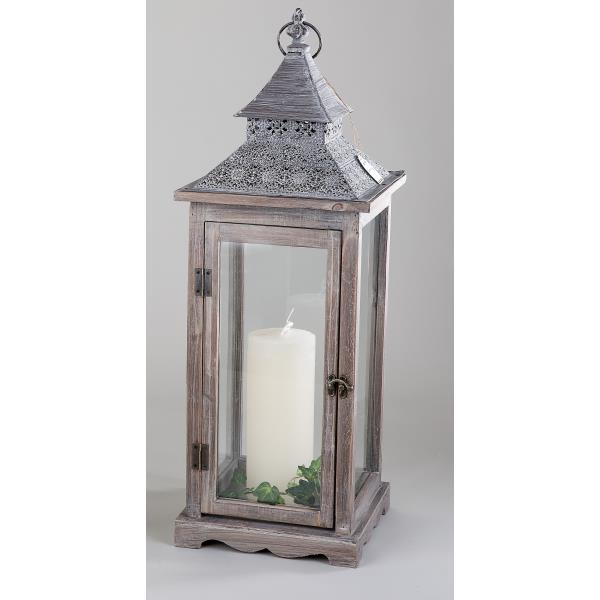 Windlicht laterne aus holz und glas mit metallkuppel for Laterne aus glas