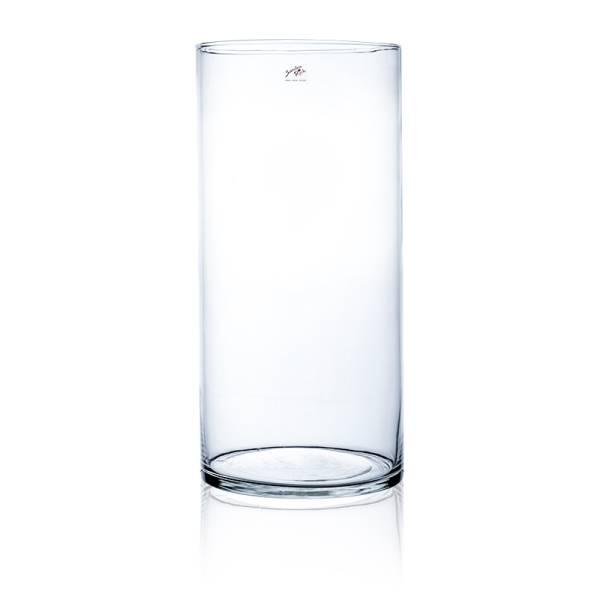 Glasvase Dekovase Zylindervase rund Transparent Glas Höhe 25cm