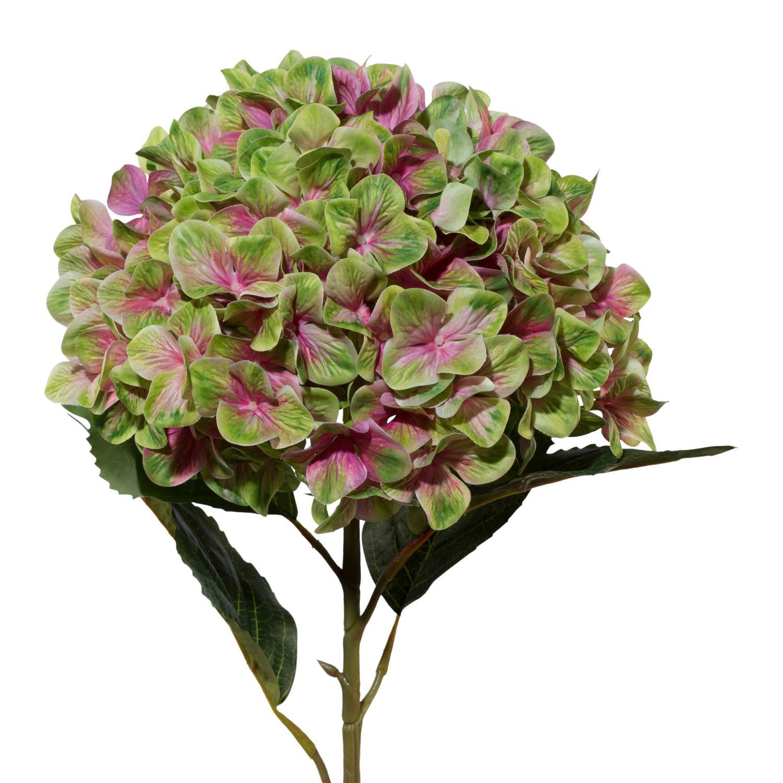 Kunstblume, Künstliche Hortensie XXL Grün Rosa Mit 3D