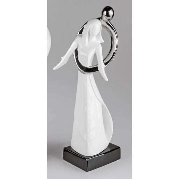 Dekofigur Hug Umarmendes Paar H 45cm Weiß Silber Keramik Formano