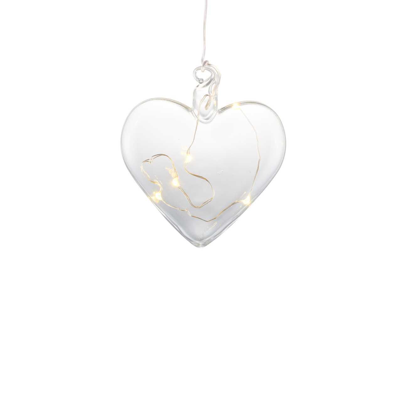 LED Dekohänger Scheibe REBECCA Herz flach Glas klar Ø 8cm 5 LED mit Timer SIRIUS