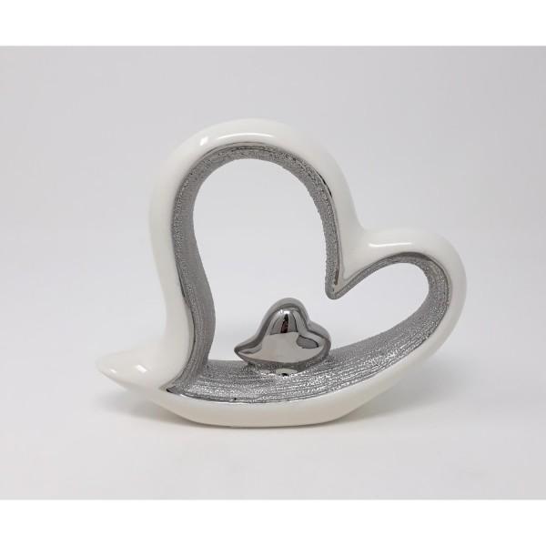 Dekoobjekt EDELWEISS HERZ 18x14cm weiß silber strukturiert Keramik Formano F19