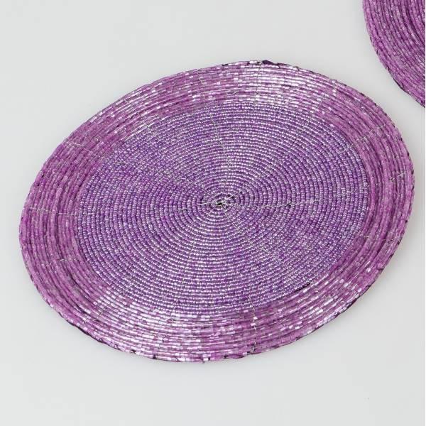 Platzset Tischsets Untersetzer PERLEN flieder pink D 20cm rund Formano