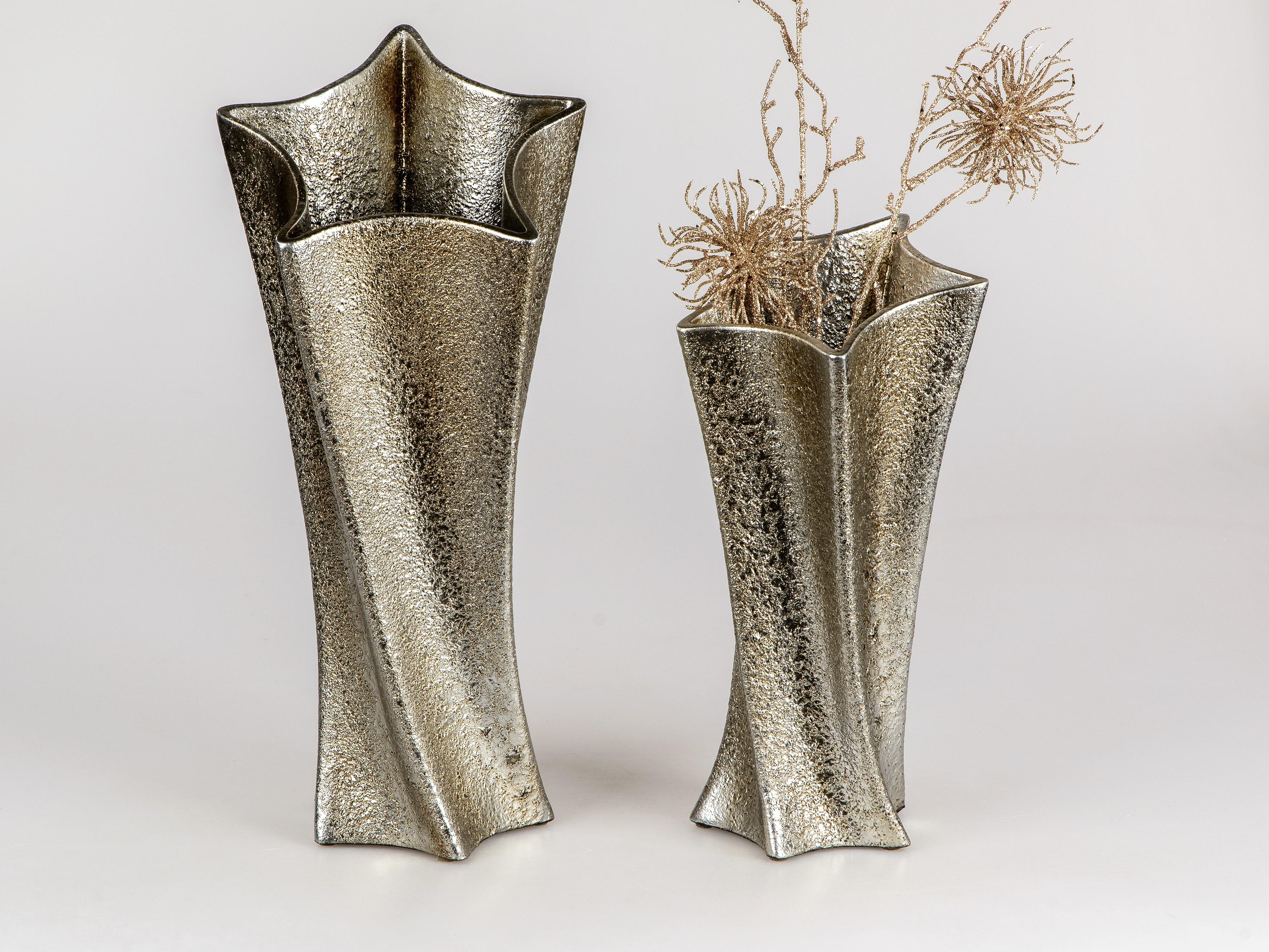 18cm H Deko Vase EDELSILBER B 17cm silber mit Strass Keramik Formano W19