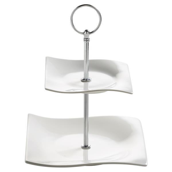 2 Stöckige Etagere Motion H 23cm Weiß Rechteckig Porzellan Maxwell