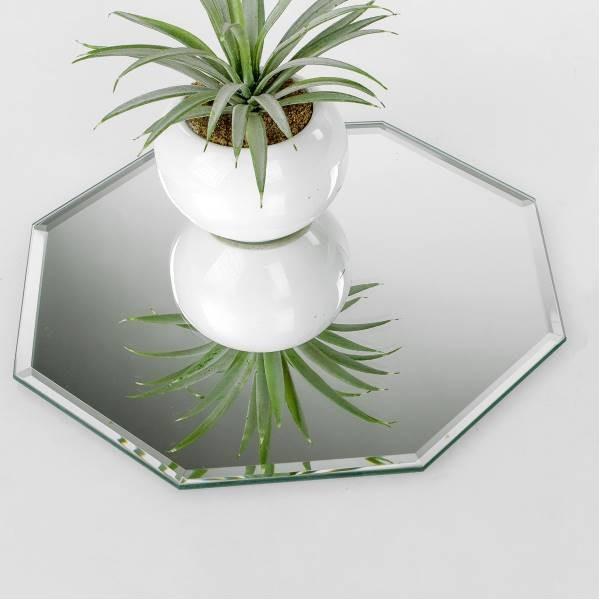 Spiegelplatte Deko.Deko Spiegelplatte Achteckig D 25cm Glas Silber Formano F19