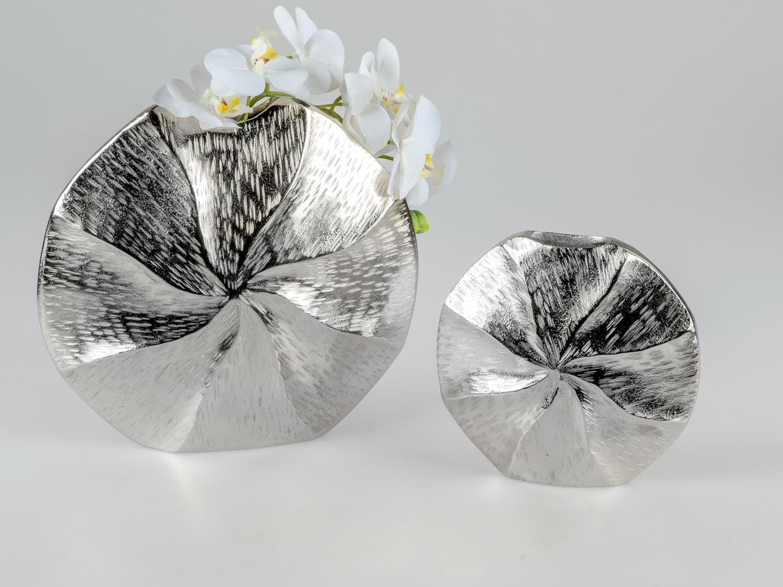 2er Set Aluminium Vasen ALU SPIRALE rund H 19cm 28cm silber Metall Formano