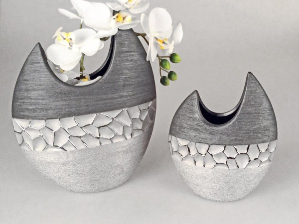 28cm silber grau Keramik Formano 21cm 2er Set Deko Vase MODERN STONES oval H